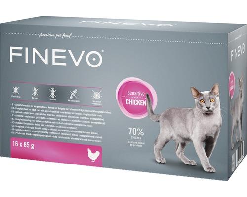 Nourriture humide pour chats FINEVO pur poulet 16x85 g
