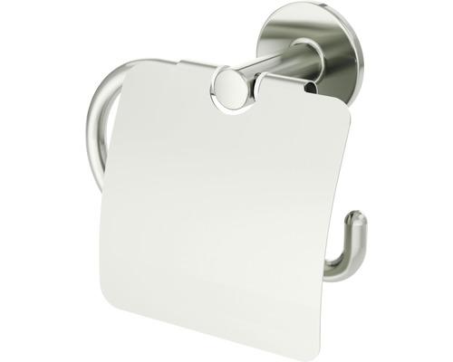 Support de papier toilette avec couvercle Lenz NOA nickel-mat