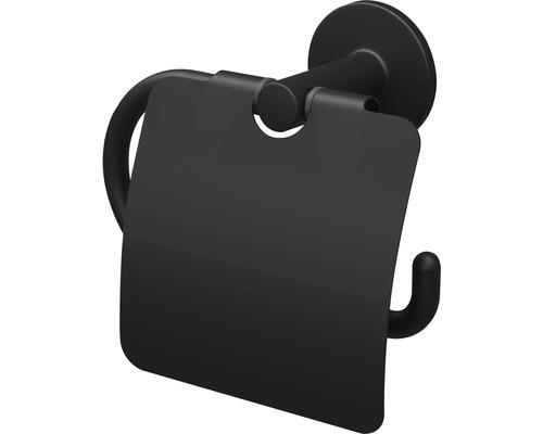 Support de papier toilette avec couvercle Lenz NERO noir
