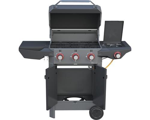 Barbecue à gaz Tenneker® Carbone 3 brûleurs + feu latéral, grille en fonte d''acier, système de plateforme noir