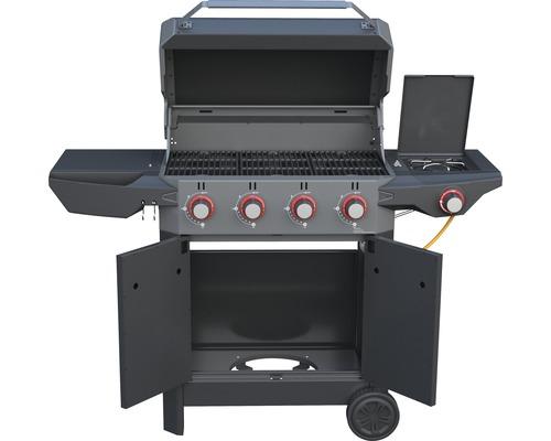 Barbecue à gaz Tenneker® Carbone 4 brûleurs + feu latéral, grille en fonte d''acier, système de plateforme noir