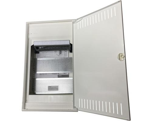 Petit répartiteur Hager VA36NW volta Multimedia IP30 plastique en saillie 3rangées avec porte en tôle d''acier fendue lxhxp 305x515x96mm gris