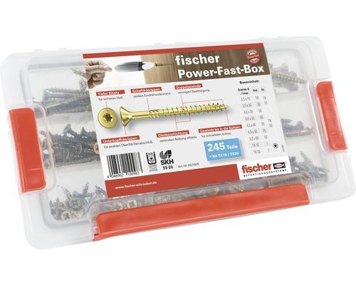 Coffret d''assortiment Fischer Power-Fast vis pour panneaux agglomérés à tête fraisée TX galv. zinguée 245pièces