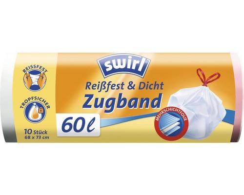 Sacs poubelle Swirl avec cordon de serrage 60l 10 pièces