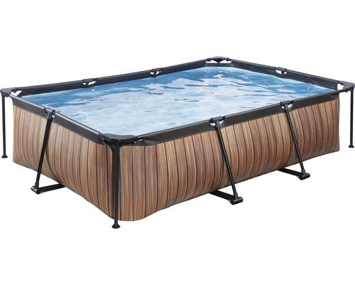 Kit piscine hors sol tubulaire EXIT WoodPool rectangulaire 300x200x65 cm avec épurateur à cartouche aspect bois