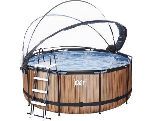 Aufstellpool Framepool-Set EXIT WoodPool rund Ø 360x122 cm inkl. Sandfilteranlage, Abdeckung & Leiter Holzoptik
