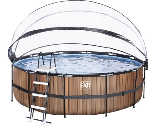 Aufstellpool Framepool-Set EXIT WoodPool rund Ø 450x122 cm inkl. Sandfilteranlage, Abdeckung & Leiter Holzoptik