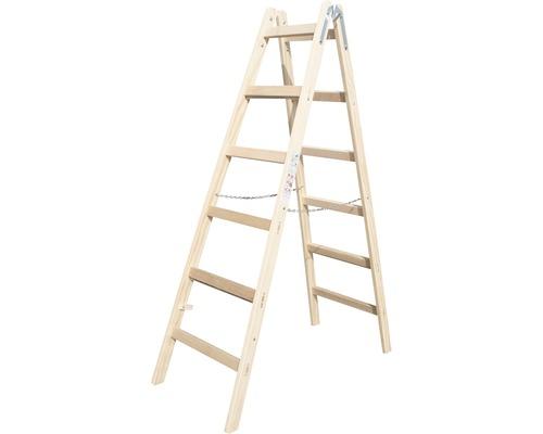 Echelle double en bois Riedel, 2x6 niveaux