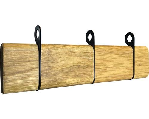 Portemanteau rabattable 3 crochets en bois et métal noir 270x89x32 jusqu''à 98mm