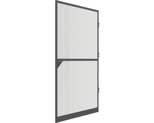 Moustiquaire de porte à cadre fixe en alu home protect anthracite avec raccord métallique 100x210cm