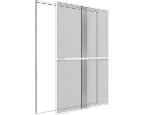 Moustiquaire porte coulissante double en alu home protect sans perçage blanc 230x240 cm