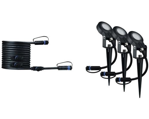Spot à piquer LED Plug & Shine Paulmann kit d''extension IP67 à intensité lumineuse variable 3x6W 270 lm 3.000 K blanc chaud anthracite 230/24V 3 pces