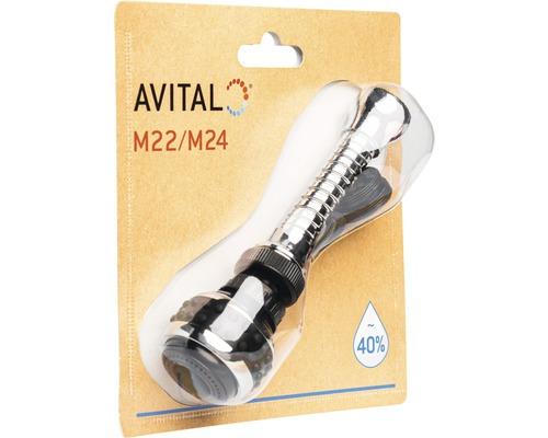 Douchette de cuisine AVITAL eco avec flexible M22/24 9.5l/min chrome/noir