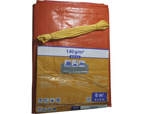 Bâche textile 140 g/m² orange-vert 2 x 3 m