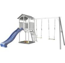Tour de jeux Beach Tower en bois bleu avec balançoire double-thumb-0