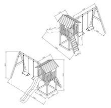 Tour de jeux Beach Tower en bois bleu avec balançoire double-thumb-2