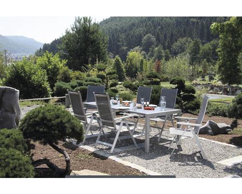 Gartenmöbelset Acamp Urban Aluminium 4-Sitzer 5-teilig silber klappbar Rückenlehne verstellbar