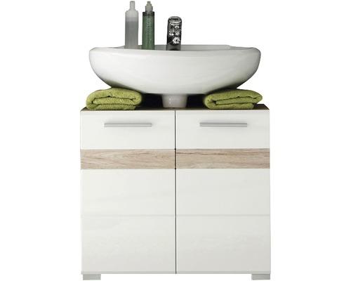 Waschbeckenunterschrank Set-One 60 cm weiß hochglanz / Eiche San Remo