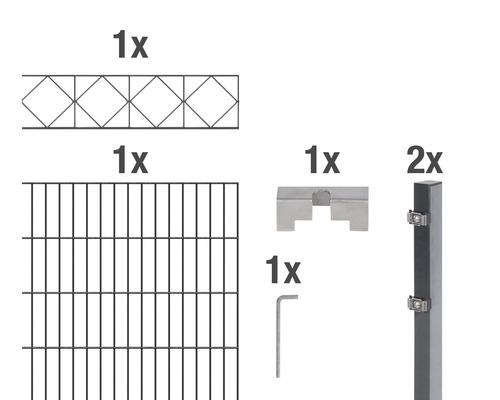 Set de panneaux rigides double fil Bergen 200x140cm, 2m, anthracite