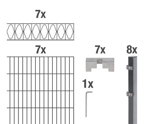 Set de panneaux rigides double fil Eleganz 200x100cm, 14m, anthracite
