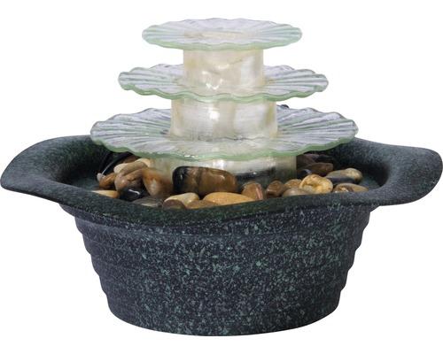 Fontaine de table design avec éclairage et pierres décoratives pierre artificielle vert avec tuyau et pompe