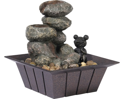Fontaine d''intérieur design avec grenouille décorative 20x20x21,5 cm pierre artificielle gris avec tuyau et pompe