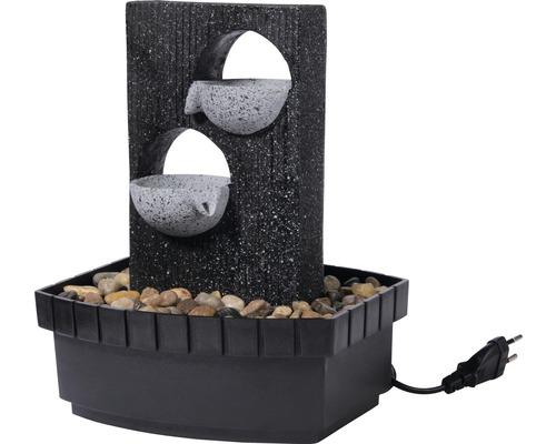 Fontaine d''intérieur design avec 2 niveaux 20,5x16,5x28 cm pierre artificielle gris avec tuyau et pompe