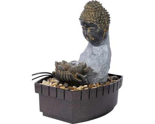 Fontaine d''intérieur design Harmony 20,5x16,5x27 cm pierre artificielle gris avec tuyau et pompe