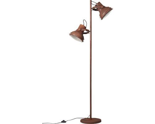 Lampadaire métal à 2ampoules Frodo de couleur rouille hxlxp 1600x490x330mm