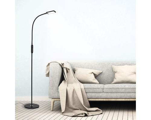 Lampadaire à LED à intensité lumineuse variable CCT 1x8W 700lm 3000K - 6500K blanc chaud - blanc lumière du jour noir H1400m avec télécommande