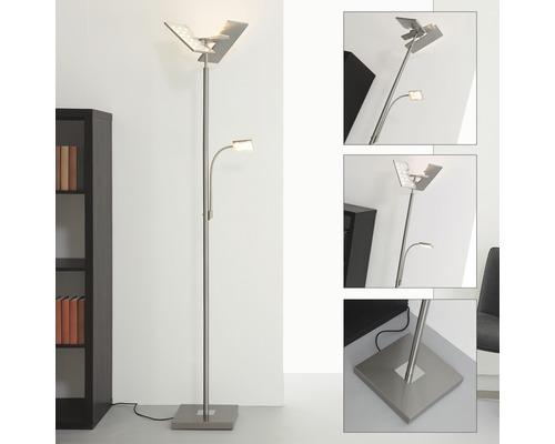 Lampadaire à LED à intensité lumineuse variable 1x21W 1x3,5W 1x2000lm 1x300lm 3000K blanc chaud h 1800mm mat nickelé