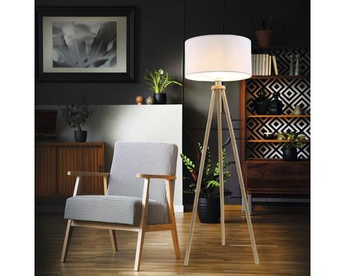 Lampadaire textile et bois 1ampoule bois clair naturel hxØ1480x455mm avec interrupteur intermédiaire à cordon