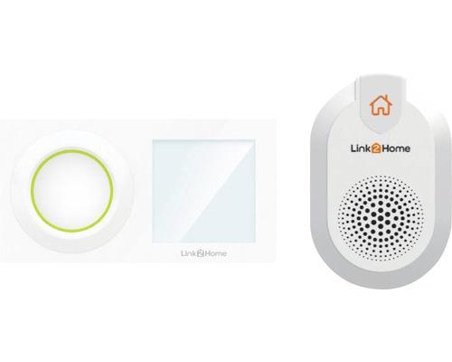 Sonnerie radio WiFi avec poussoir blanc 8 mélodies Link2Home WiFi