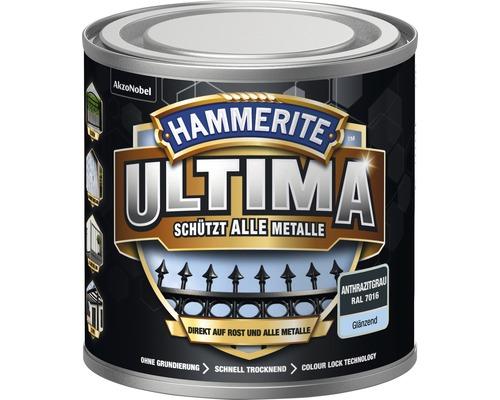 Laque de protection pour métaux Hammerite Ultima Ral 7016 gris anthracite brillant 250 ml