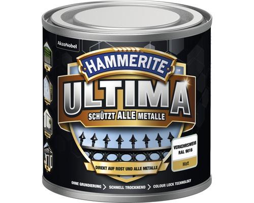 Laque de protection pour métaux Hammerite Ultima Ral 9016 blanc signalisation mat 250 ml