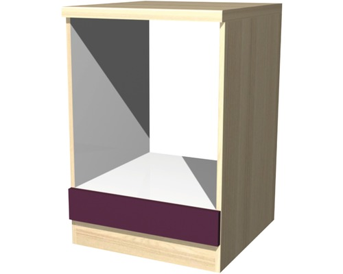 Sous-meuble de cuisinière Focus décor acacia/aubergine (l x H x P) 60 x 85 x 60 cm