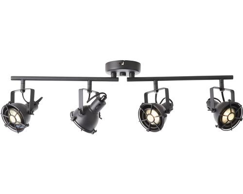 Spot de plafond à LED métal 4x5W 4x380lm 3000K blanc chaud Jesper noir corindon hxlxp 195x680x150mm