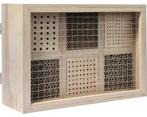 Hôtel à insectes, nichoir professionnel pour abeilles sauvages avec cadre 45x15x31cm