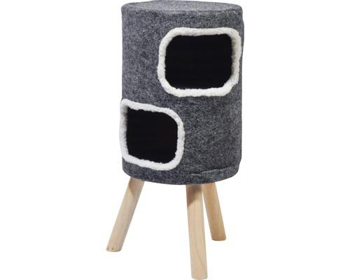 Tabouret pour chats 2 étages avec revêtement en feutre 40x40x77cm gris