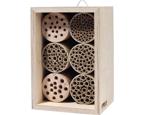 Hôtel à insectes, nichoir professionnel pour abeilles sauvages avec 6 blocs 15x12,5x22cm