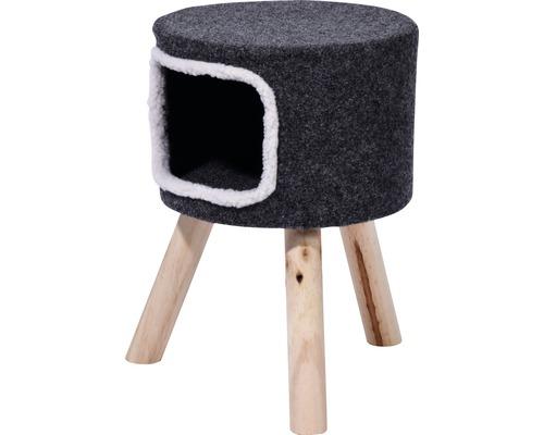 Tabouret pour chats avec revêtement en feutre 35x35x50cm gris