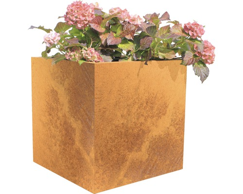 Bac à plantes Nora 50 x 50 x 50 cm acier corten marron