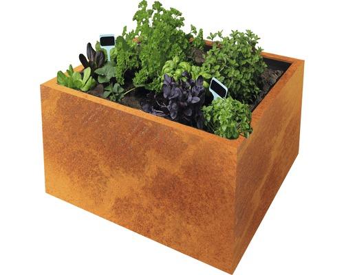 Bac à plantes Clara 80 x 80 x 50 cm acier corten marron