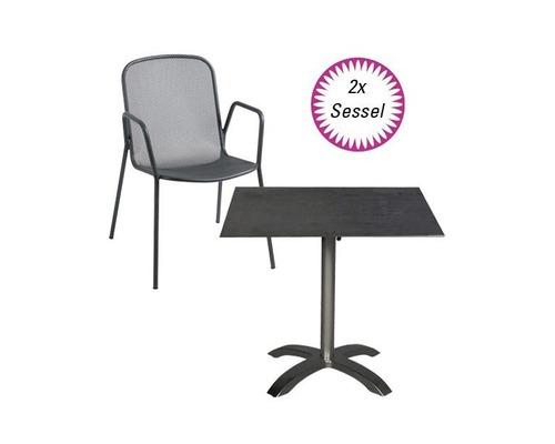 Ensemble de meubles de jardin Alfredo acier 3 pièces anthracite rabattable