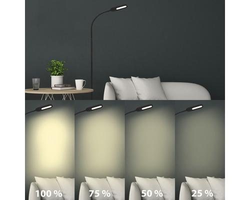 Lampadaire LED CCT 8W 600 lm blanc chaud blanc naturel H1280 mm avec variateur d''intensité tactile noir