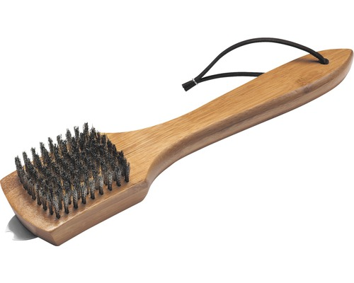Brosse à barbecue métallique Weber brosse de nettoyage avec poignée en bambou petite L 30 cm marron gris