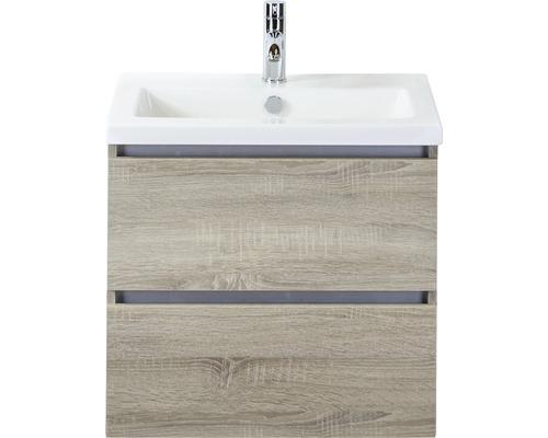 Ensemble de meubles de salle de bains Vogue 60 cm avec vasque en céramique chêne gris