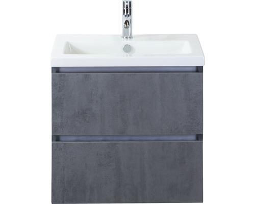 Ensemble de meubles de salle de bains Vogue 60 cm avec vasque en céramique béton anthracite