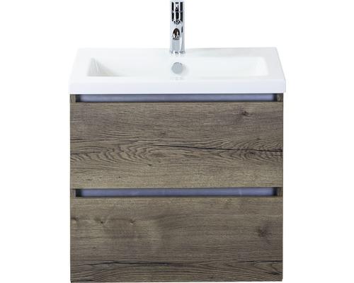 Ensemble de meubles de salle de bains Vogue 60 cm avec vasque en céramique Tabacco