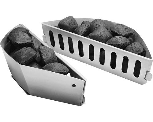 Panier à charbon de bois, panier à charbon, rails à charbon zingué acier 2 pces Weber
